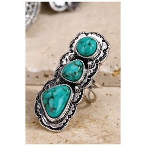 Boho Natural Stone Ring SilverTurquoise Adjustable